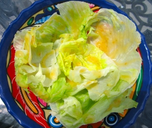 dress lettuce with vinaigrette of your choice