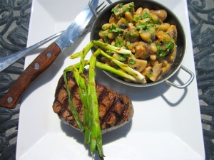 Grilled Tenderloin With Mushrooms And Cannellini Beans