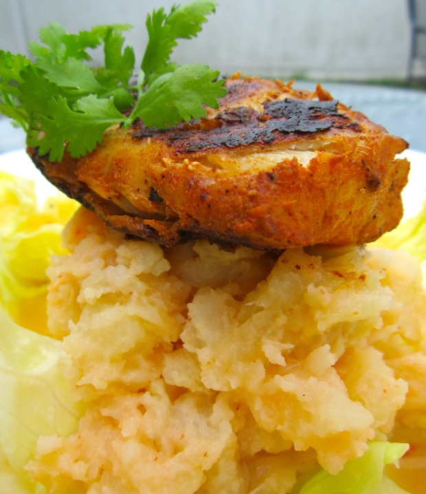 Tandoory Style Cod Filet With Potato-Onion Mash