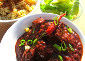 Hungarian Beef Goulash With Pasta And Schmelze,  Romaine In Vinaigrette