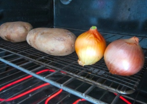 bake potatoes and onions until soft