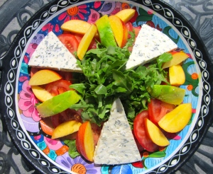 top with gorgonzola, avocado and nectarines