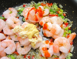 add shrimp, dijon mustard,  horseradish, sriracha and kosher salt