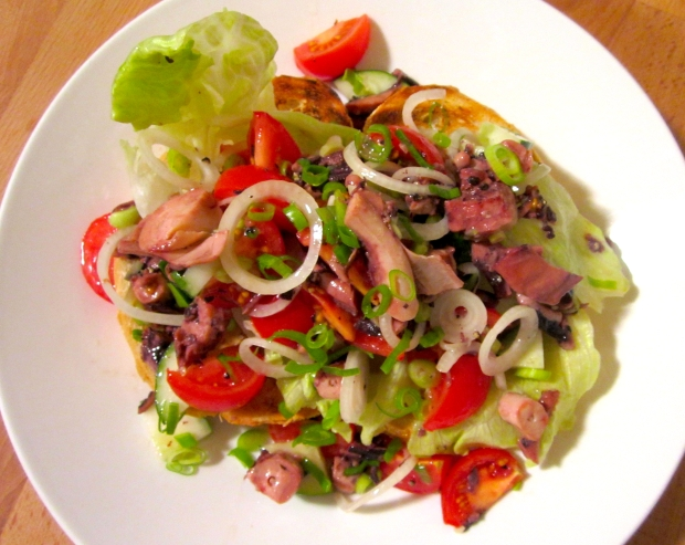Open Faced Octopus Salad Sandwich