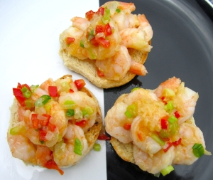 top sliders with sauteed shrimp