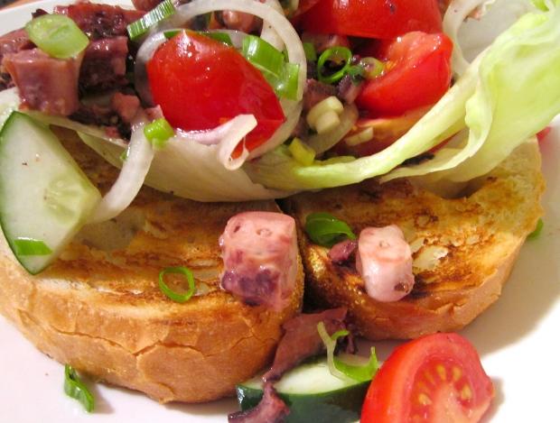 Open Faced Octopus Salad Sandwich