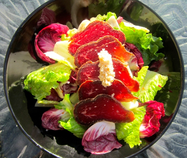Romaine,  Radiccio Rosso, Red Radish and  Bresola  with  Prepared Horseradish In Raspberry Vinegar Vinaigrette