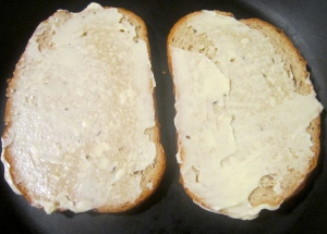 smear both sides of seeded rye bread with mayonnaise