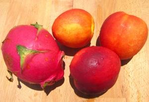 pitaya (dragon fruit) and nectarines