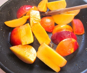 saute nectarines on low heat in butter, add a small amount of brown sugar