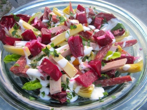 """drizzle with buttermilk dressing, top with """"red Rubies"""""""