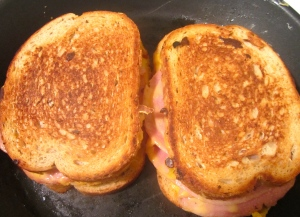 griddle sandwich on a VERY low heat griddle (or cast iron pan) until golden, turn, griddle the other side