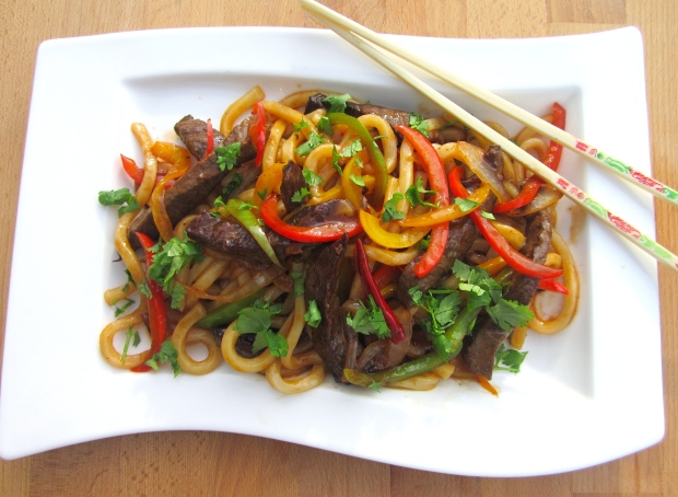 Udon Noodles With Tenderloin Tips And Bell Peppers