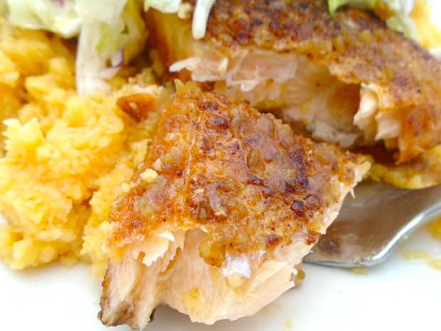 Salmon & Grits In Garlic/Lime Butter