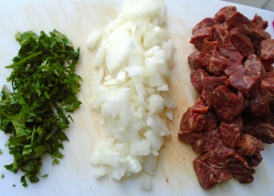 cubed flank steak, diced onions, chopped cilantro