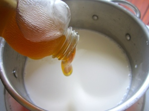 Sweeten 6 cup heavy cream and 3 cup half&half with 1/2 cup of honey, add a few drops of organic vanilla extract, bring to a simmer, remove from heat