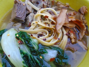 Short Ribs, Bok Choy, Shiitake And Noodles In Spicy Ginger/Garlic Broth