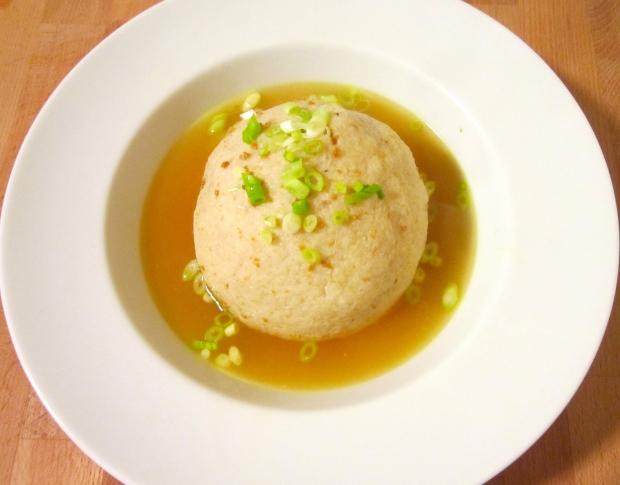Jerk Chicken-Stuffed Matzo Ball Soup