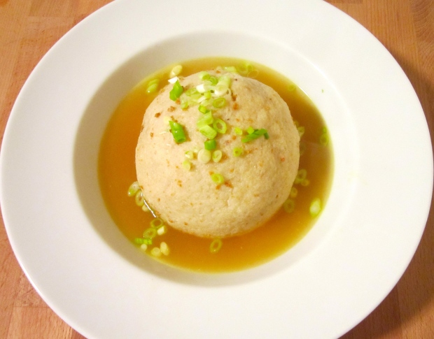 Jerk Chicken-Stuffed Matzo Ball Soup