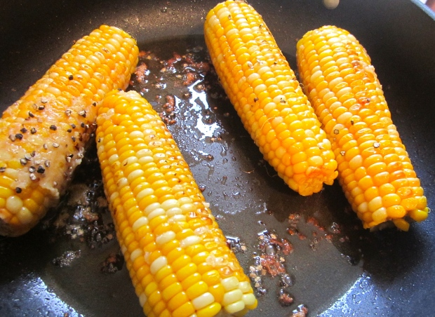 sauteed fresh corn with garlic paste and cracked black pepper