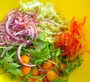 prepare sliced red onions, baby arugula, red peppers, yellow grape tomatoes and finely sliced iceberg