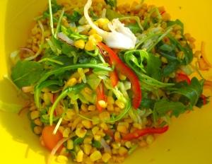 add to salad, add honey mustard vinaigrette