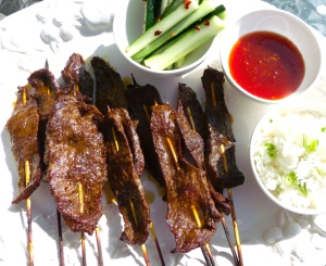 serve satay's with thai chili sauce, pickled cucumbers and lime/scallion rice