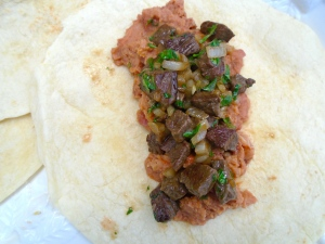 top re-fried beans with beef