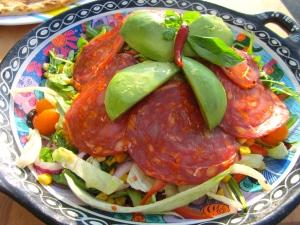 Fresh Corn And Arugula Salad With Chorizo