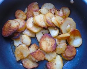 saute potatoes in duckfat, season with kosher salt and cayenne pepper
