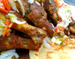 Tandoori-Style Chicken Drumsticks With Pickled Onions And Naan