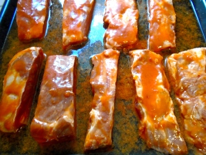 "place ribs and additional ""HANS' HOMEMADE BUFFALO SAUCE""  in a heat-proof dish, add water"