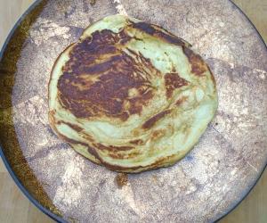 put pancake on a serving dish
