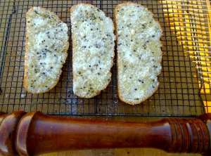sprinkle with finely grated parmesan and fresh ground black pepper, bake at 375F until golden