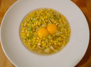 Pork Soup With Pasta, Corn And Egg