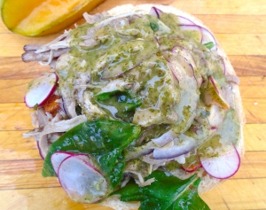 douse with cilantro, garlic and lime sauce