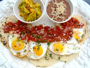 top with salsa mexicana, sprinkle with chopped cilantro and cheese of your choice