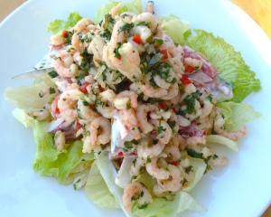 top veggie salad with shrimp