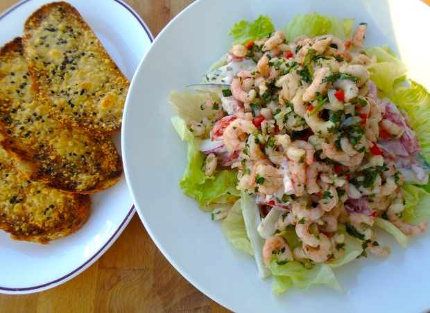 Shrimp And Vegetable Salad With Cheese/Garlic Bread