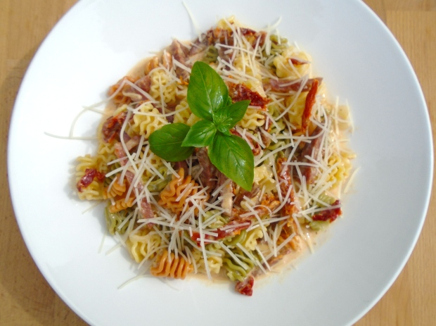 Radiatore with Salame and Sun-Dried Tomatoes in Garlic-Confit Cream
