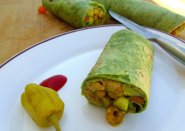 Spinach Wrap With Curried Garbanzos And Shrimp