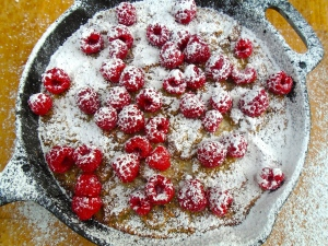 sprinkle with fresh raspberries and confectioners sugar