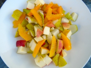 cut apple and pears into cubes, filet the oranges