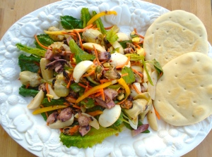 plate salad with Cuban crackers
