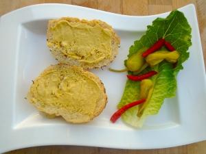 spread dijon mustard on 2 garlic/onion rolls