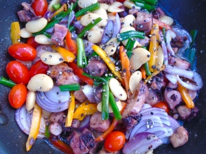add vegetables, saute 2 minutes, season with salt, fresh oregano and freshly ground black pepper