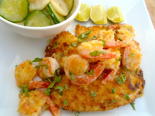 Panko Coated Flounder Fillet With Shrimp And Cucumber/Potato Salad