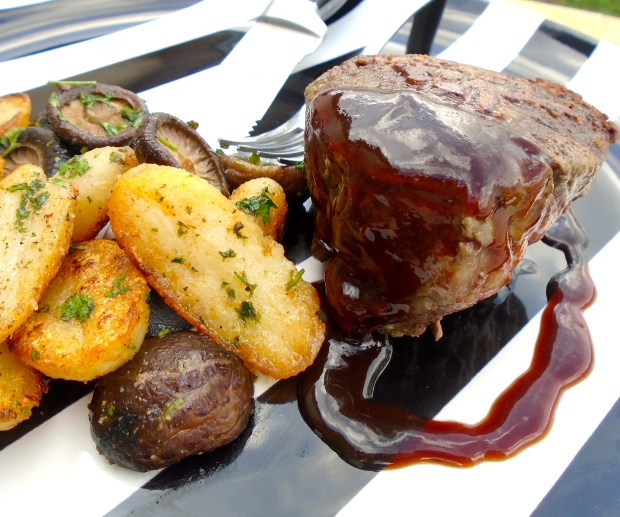 "Filet Mignon With Sautéed Potatoes, Shiitake And ""Hoi Sin Delight"""