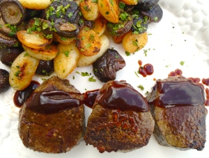 """Filet Mignon With Sautéed Potatoes, Shiitake And """"Hoi Sin Delight"""""""