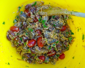 add cooled-down meat, mix all ingredients